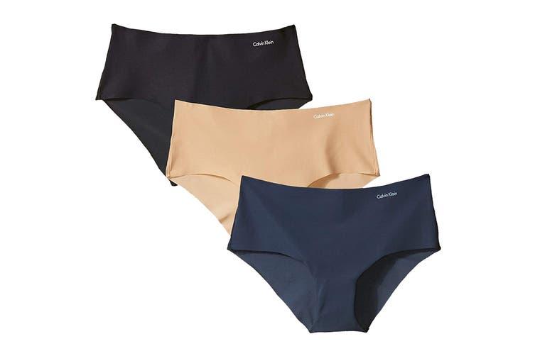 Calvin Klein Women's Invisibles Hipster Underwear (Black/Light Caramel/Speakeasy, Size L) - 3 Pack
