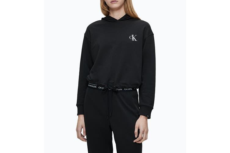 Calvin Klein Women's Loungewear Long Sleeve Hoodie (Black, Size L)