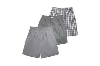 Calvin Klein Men's Woven Boxers (Glen Plaid Grey Sky/Grey Sky/Matthew, Size L) - 3 Pack