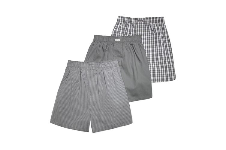 Calvin Klein Men's Woven Boxers Underwear (Glen Plaid Grey Sky/Grey Sky/Matthew, Size S) - 3 Pack
