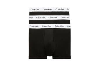Calvin Klein Men's Cotton Low Rise Trunk (Black/White, Size L) - 3 Pack