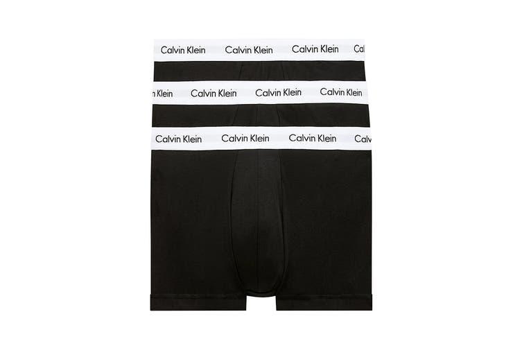 Calvin Klein Men's Cotton Low Rise Trunk (Black/White, Size M) - 3 Pack