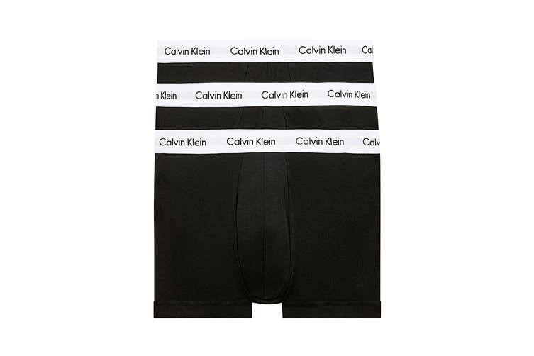 Calvin Klein Men's Cotton Low Rise Trunk (Black/White, Size XL) - 3 Pack