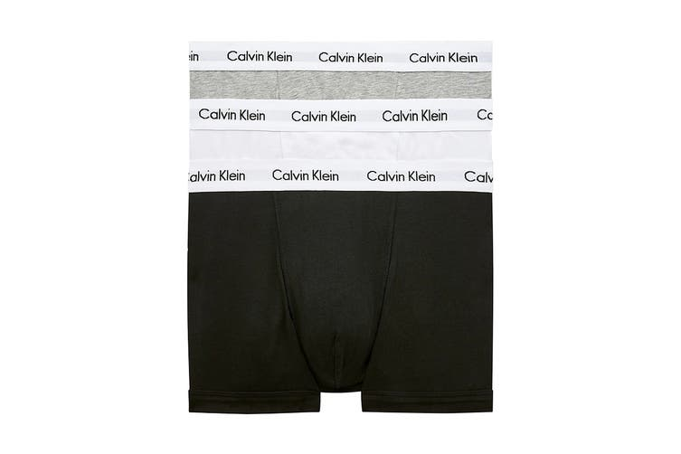 Calvin Klein Men's Cotton Low Rise Trunk (Black/White/Grey, Size S) - 3 Pack