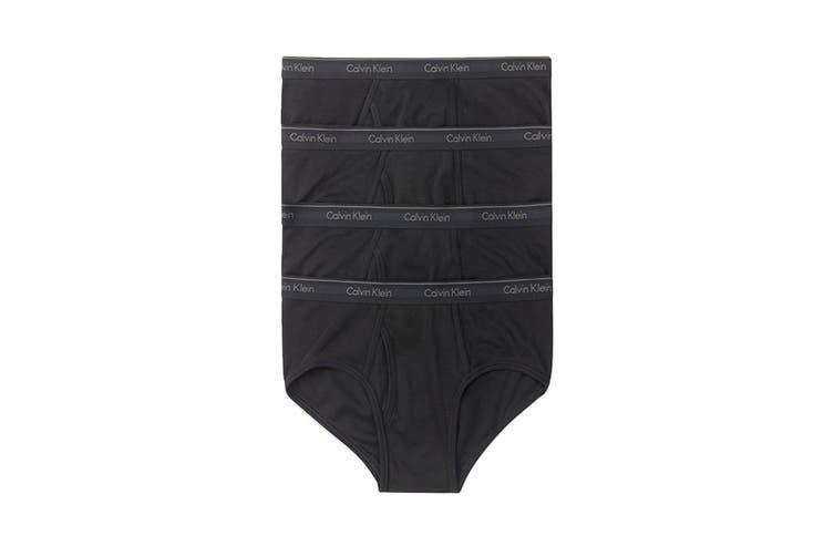 Calvin Klein Men's Cotton Classics Brief Underwear (Black, Size XL) - 4 Pack
