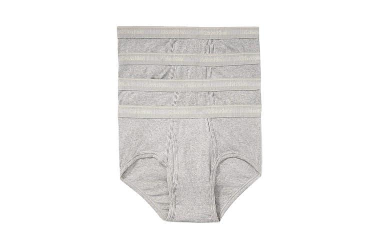 Calvin Klein Mens's Cotton Brief (Grey, Size S) - 4 Pack
