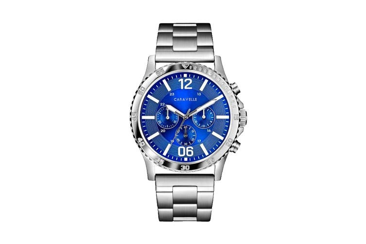 Caravelle Men's 44mm Analog Quartz Chronograph Watch with Fold-over Buckle - Stainless Steel/Blue (43A145)