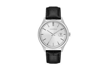 Caravelle Men's 41mm Analog Quartz Watch with Date & Croc-embossed Leather Strap - Black/White/Stainless Steel (43B150)
