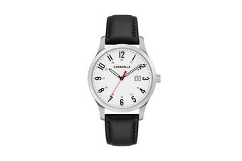 Caravelle Men's 40mm Analog Quartz Classic Watch with Leather Strap - Black/White (43B152)