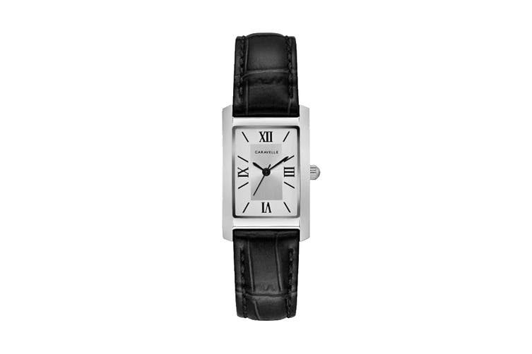 Caravelle Ladies' 21 x 33mm Analog Quartz Watch with Croc-embossed Leather Strap - Black/Silver-White (43L202)