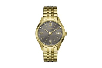 Caravelle Men's 41mm Analog Quartz Watch - Gold Plated Stainless Steel/Brown (44B122)