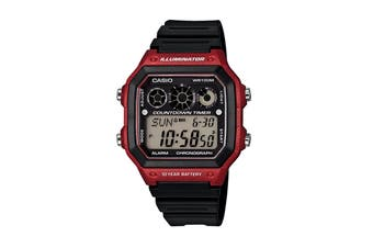 Casio Auto Illuminator Digital Watch - Black/Red (AE1300WH-4A)