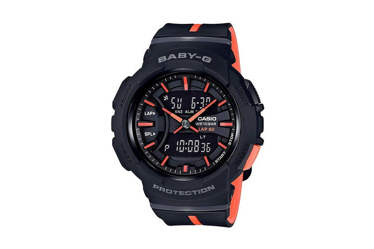 Casio Baby-G Analog Digital Watch with Lap Memory & Resin Band - Black/Orange (BGA240L-1A)
