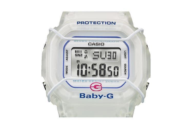 Casio Baby-G Digital Female Watch with Semi-Transparent Resin Band - White (BGD525-7D)