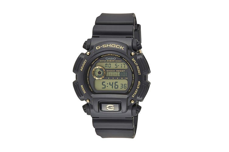 Casio G-Shock Digital Watch with Gold Accents & Resin Band (DW9052GBX-1A9)