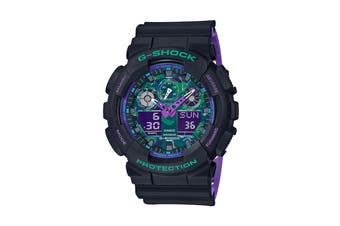 Casio G-Shock Analog Digital Watch with Resin Band - Black/Purple (GA100BL-1A)