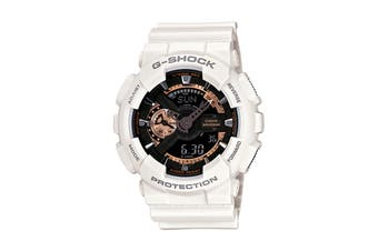 Casio G-Shock Analog Digital Watch with Resin Band - White/Black/Rose Gold (GA110RG-7A)