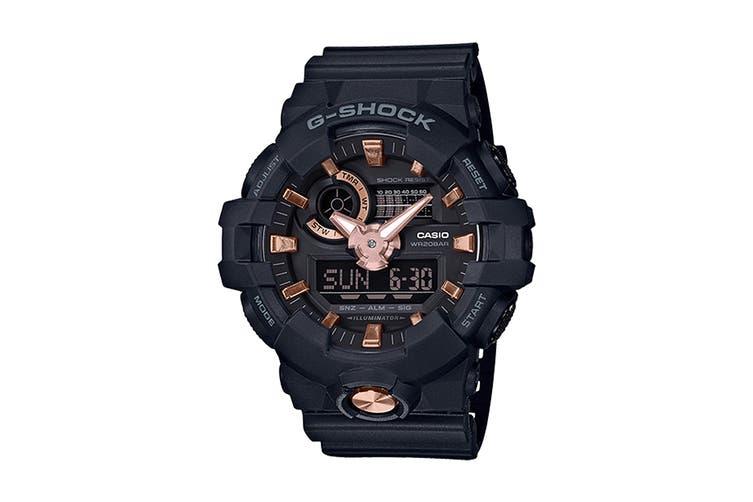 Casio G-Shock Analog Digital Watch with Resin Band - Black/Rose Gold (GA710B-1A4)
