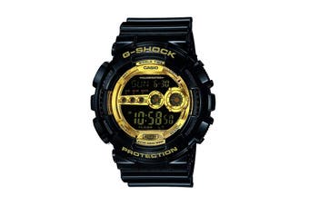 Casio G-Shock Analog Digital Watch with Shock/Water Resistance, LCD Display & Resin Band - Black/Gold (GD100GB-1)