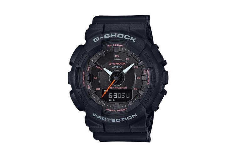Casio G-Shock Analog Digital S Series Step Tracker Watch with Resin Band - Black (GMAS130VC-1A)