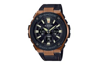 Casio G-Shock Analog G-Steel Series Watch with Tough Leather Band - Black/Brown (GSTS120L-1A)