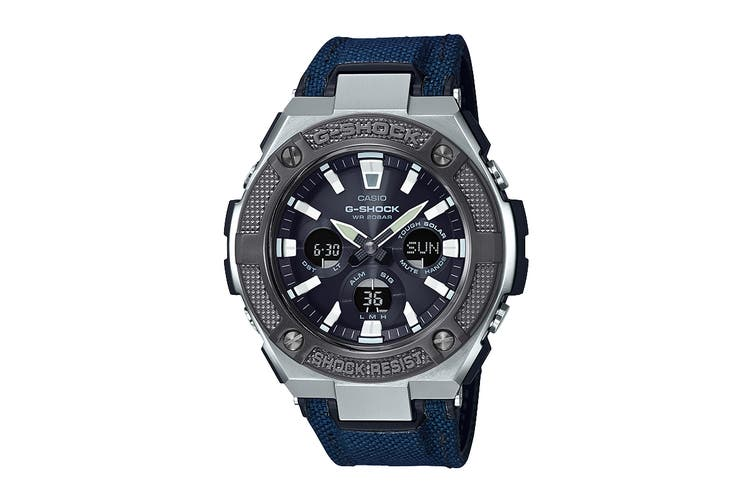 Casio G-Shock Analog G-Steel Series Watch with Cloth Band - Blue/Silver (GSTS330AC-2A)