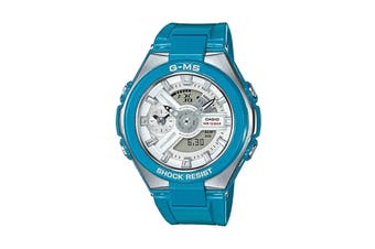 Casio Baby-G Analog Digital Female Watch with Stainless Steel Resin Band - Blue/Stainless Steel (MSG400-2A)