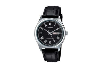 Casio Analog Leather Band - Black/Silver (MTPV001L-1B)