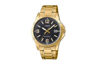 Casio Analog Stainless Steel Watch - Black/Gold (MTPV004G-1B)
