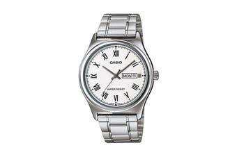 Casio Analog Stainless Steel Watch - White/silver (MTPV006D-7B)