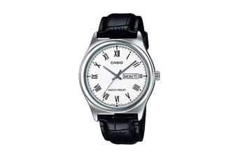 Casio Analog Leather Band - White/Black (MTPV006L-7B)