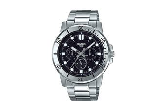 Casio Analog Stainless Steel Watch - Black/Silver (MTPVD300D-1E)
