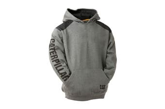 Caterpillar Men's Logo Panel Hooded Sweatshirt (Dark Heather Grey)