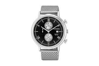 Citizen Men's 41mm Analog Chronograph Quartz Watch with Date, Stainless Steel Bracelet & Push Button Buckle  - Black/Stainless Steel (AN3610-80E)
