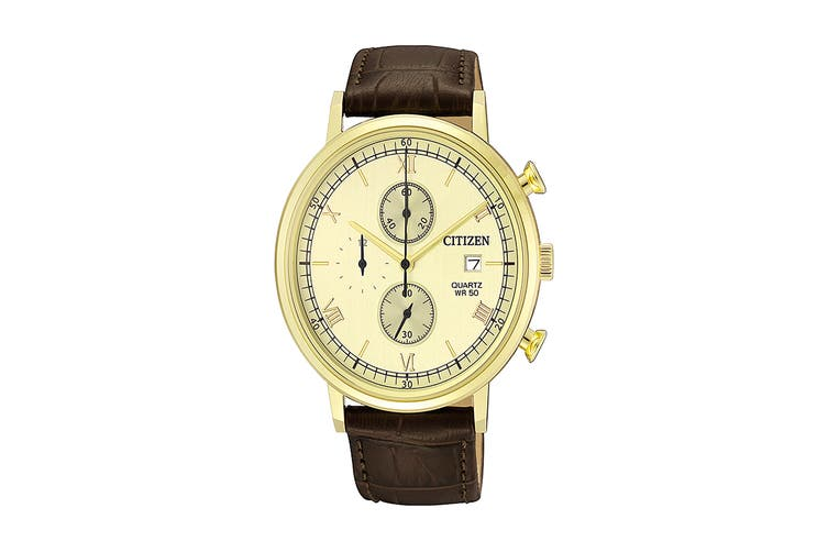 Citizen Men's 41mm Analog Chronograph Quartz Watch with Date & Leather Strap - Yellow (AN3612-09P)