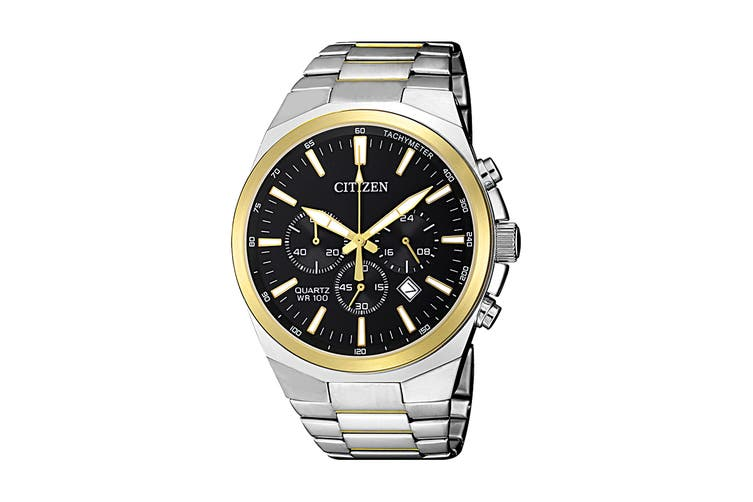 Citizen Men's 40mm Analog Chronograph Quartz Watch with Date, Stainless Steel Bracelet & Push Button Buckle - Black/Stainless Steel (AN8174-58E)