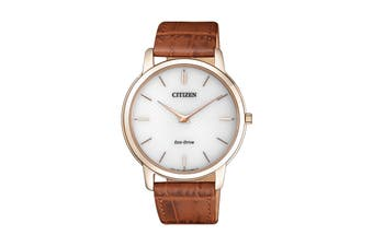 Citizen Men's 39mm Analog Dress Eco-Drive Watch with Leather Strap - Gold/Brown (AR1133-15A)