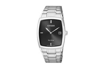 Citizen Men's 31mm Analog Dress Eco-Drive Watch with Stainless Steel Bracelet & Push Button Buckle - Black/Stainless Steel (AU1070-82E)