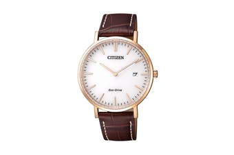Citizen Men's 38mm Analog Dress Eco-Drive Watch with Leather Strap - Gold/Brown (AU1083-13A)