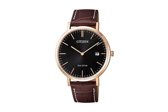 Citizen Men's 38mm Analog Dress Eco-Drive Watch with Leather Strap - Black/Gold/Brown (AU1083-13H)