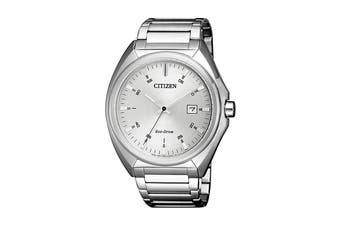 Citizen Men's 42mm Analog Dress Eco-Drive Watch with Date, Stainless Steel Bracelet & Push Button Buckle - Stainless Steel (AW1570-87A)