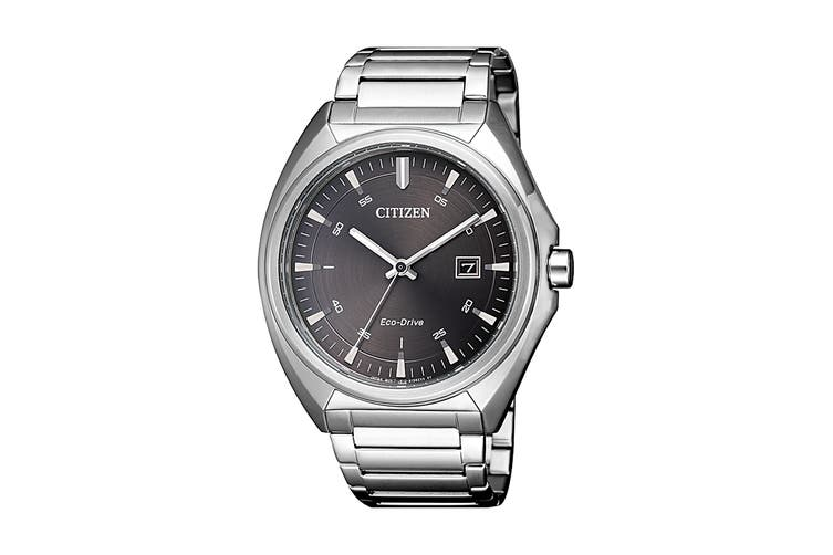 Citizen Men's 42mm Analog Dress Eco-Drive Watch with Date, Stainless Steel Bracelet & Push Button Buckle - Black/Stainless Steel (AW1570-87H)