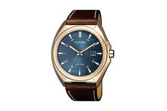 Citizen Men's 42mm Analog Dress Eco-Drive Watch with Date & Leather Strap - Blue/Gold/Brown (AW1573-11L)