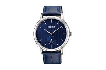 Citizen Men's 39mm Analog Dress Quartz Watch with Leather Strap - Blue/Stainless Steel (BE9170-05L)