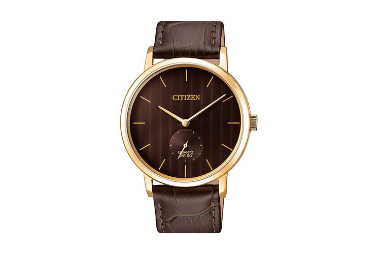 Citizen Men's 39mm Analog Dress Quartz Watch with Leather Strap - Brown/Gold (BE9173-07X)