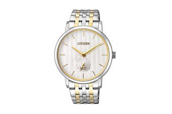 Citizen Men's 39mm Analog Dress Quartz Watch with Stainless Steel Bracelet & Push Button Buckle - White/Gold/Stainless Steel (BE9174-55A)