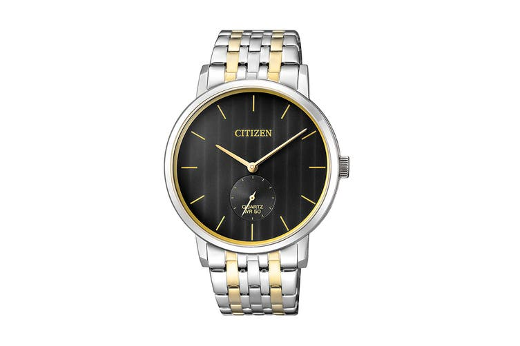 Citizen Men's 39mm Analog Dress Quartz Watch with Stainless Steel Bracelet & Push Button Buckle - Black/Gold/Stainless Steel (BE9174-55E)