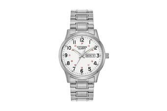 Citizen Men's 38mm Analog Dress Quartz Watch with Date, Stainless Steel Bracelet & Push Button Buckle - White/Stainless Steel (BF0610-91A)