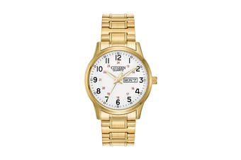 Citizen Men's 38mm Analog Dress Quartz Watch with Date, Stainless Steel Bracelet & Push Button Buckle - White/Stainless Steel Gold (BF0612-95A)