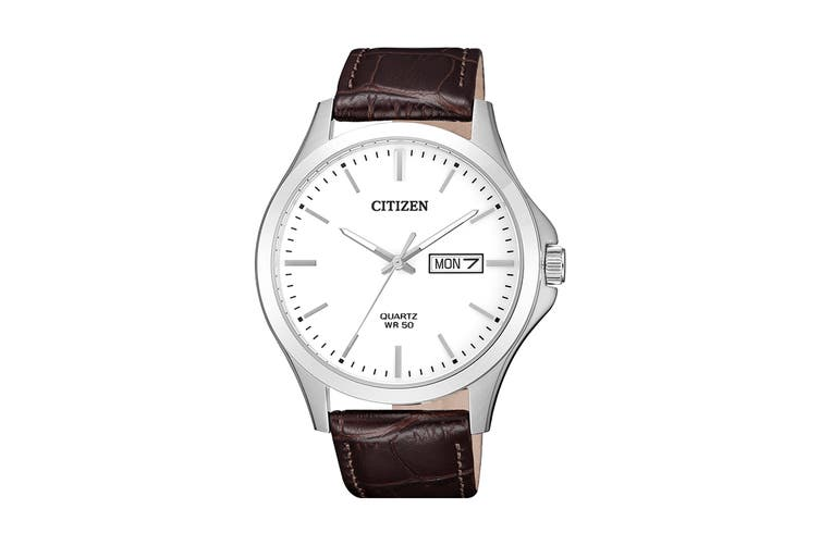 Citizen Men's 41mm Analog Dress Quartz Watch with Date & Leather Strap - White/Brown Leather (BF2001-12A)
